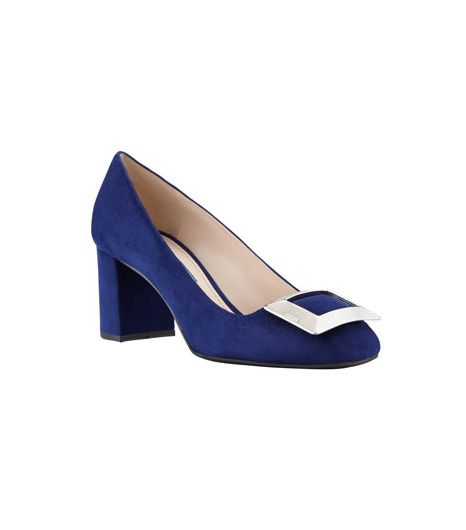 Prada  Prada Suede Buckled Block-Heel Pumps