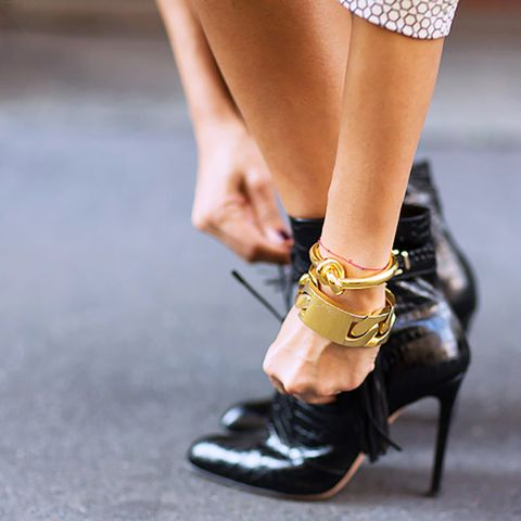 Style Tip: Swap your stones for a strong metal bracelet.