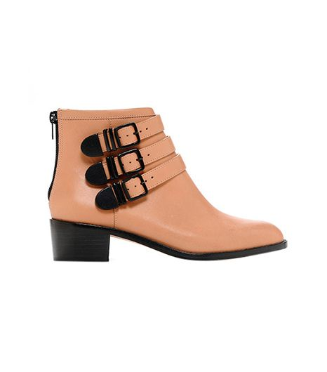 Loeffler Randall Fenton Buckle Booties ($255) in Sand Leather