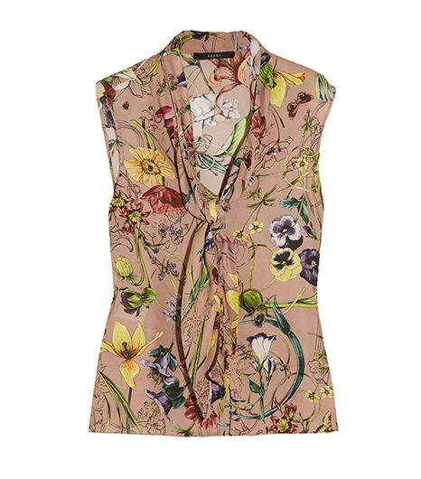 Gucci Floral-Print Silk Georgette Top
