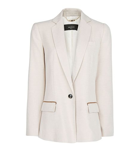 Mango Contrast Trim Straight-Fit Blazer