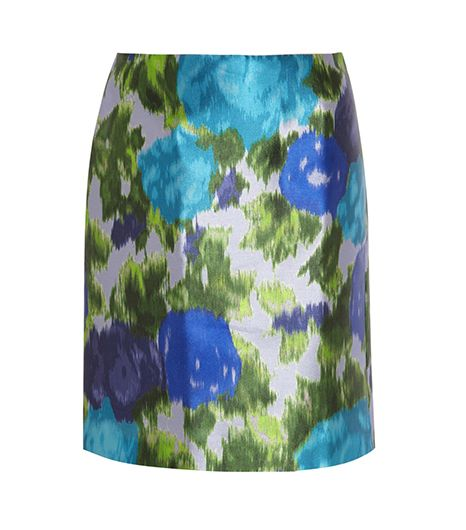 Michael Van Der Ham Printed Satin-Twill Skirt