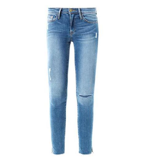 Frame Denim Le Skinny De Jeanne Distressed Mid-Rise Jeans