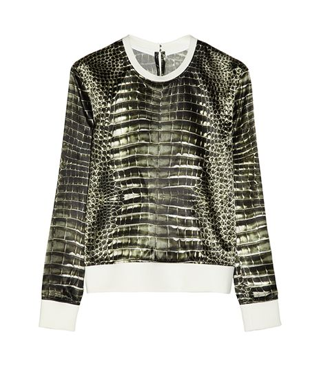 Reed Krakoff Alligator-Print Satin Sweatshirt