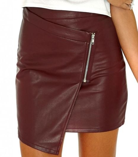 Tarquara Tarquara Faux Leather Zip Detail Mini Skirt