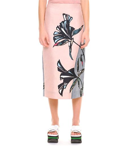 marni Large Floral Midi Skirt in Pink Sand