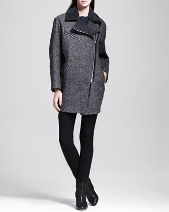 Rag & Bone Turner Leather-Trim Coat