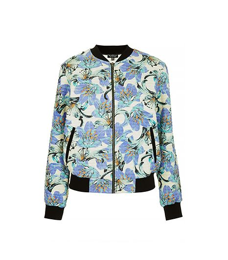 Topshop  Tropical Print Jersey Bomber
