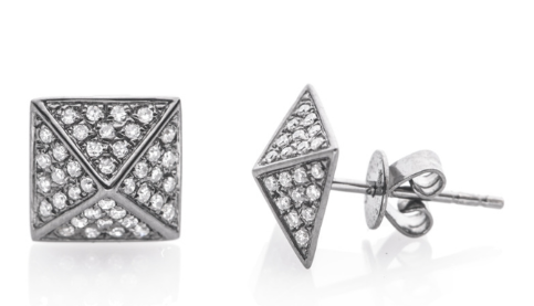 EF Collection  Diamond Pyramid Studs in White Gold