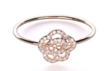EF Collection  Diamond Rose Stack Ring in White Gold