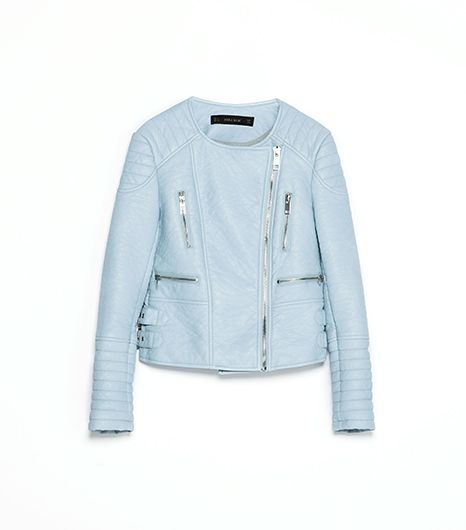 Zara  Pastel Coloured Faux Leather Zip Jacket
