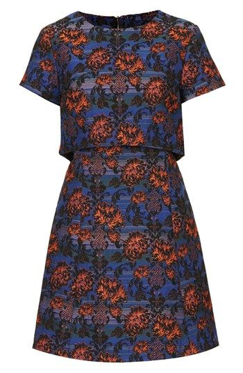 Topshop  Crocus Print Tiered Skater Dress