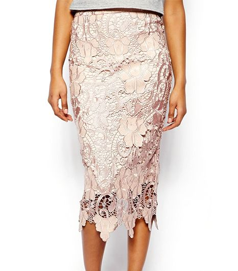 River Island River Island Lace Pencil Skirt with Scalloped