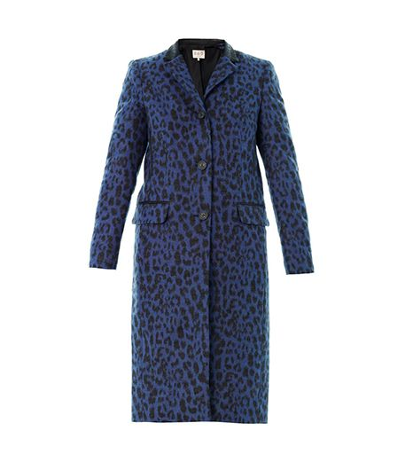 Sea Leopard-Print Wool Coat