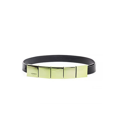 Kenzo  Mirrored-Metal and Leather Belt