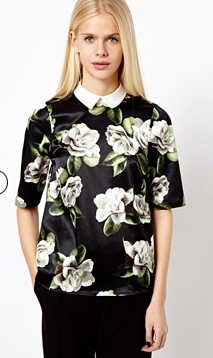 River Island  Digital Floral Collar Top
