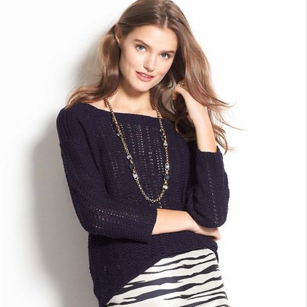 Ann Taylor  Black Zip Textural Sweater