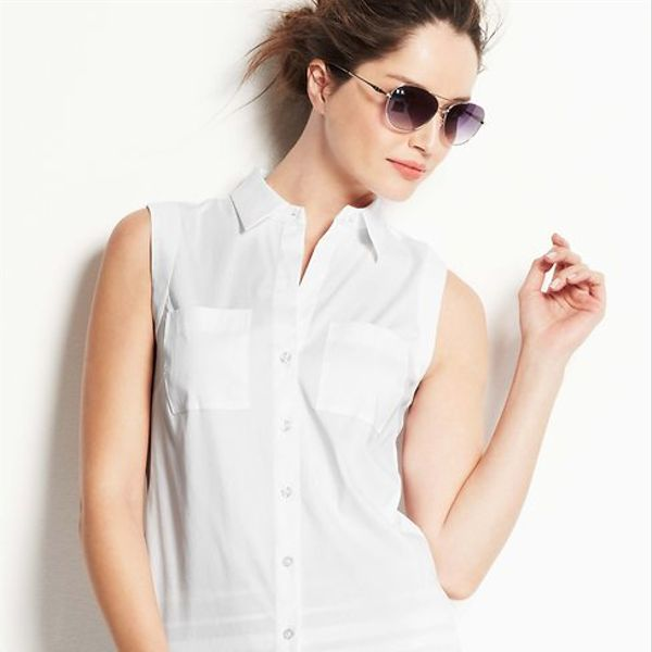 Ann Taylor  Perfect Button Down Sleeveless Shirt