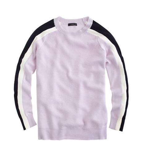 J Crew Stripe Sleeve Merino Sweater