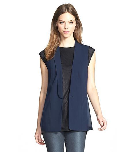 Trouve Trouve Blaxer Style Vest ($88) in Navy-Dusk