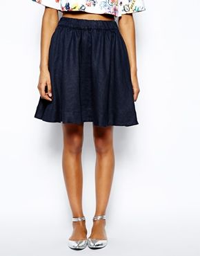 Love Moschino  Full Flippy Skirt in Brushed Linen
