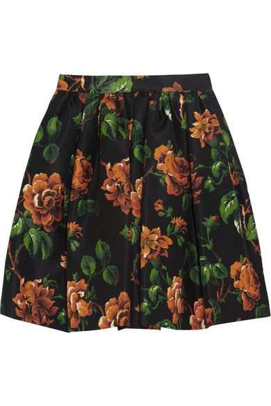 Miu Miu  Floral-Print Silk-Faille Mini Skirt