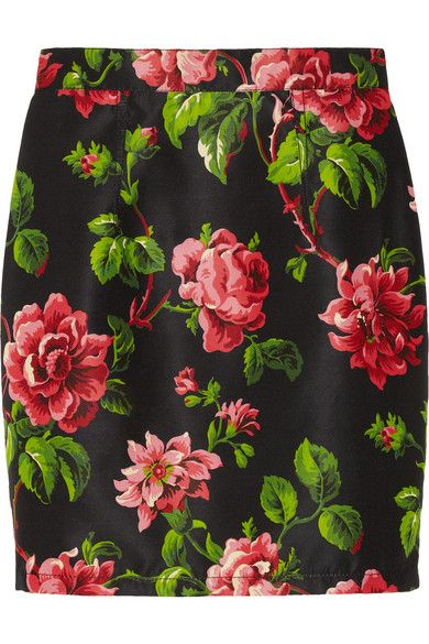 Miu Miu  Floral-Print Silk-Faille Skirt