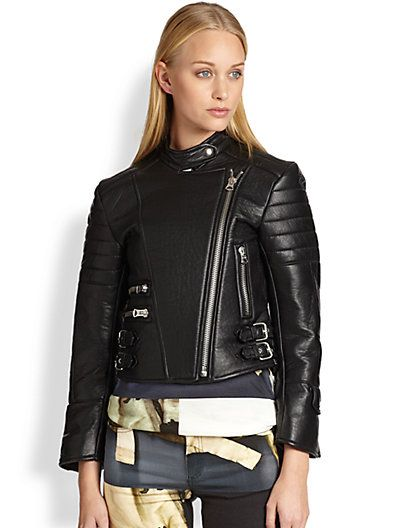 Acne Studios  Moi Quilted-Panel Leather Biker Jacket