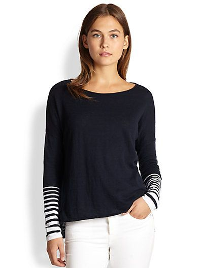 Vince  Striped-Cuff Slub Sweater