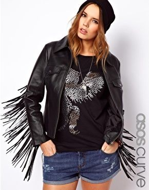 ASOS  Leather Jacket with Fringing