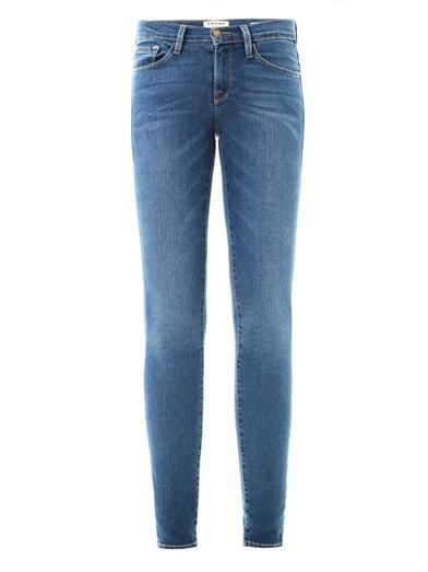 Frame Denim  Blue Le Skinny De Jeanne Mid Rise Skinny Jeans