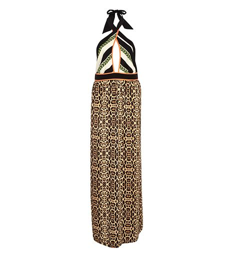 River Island  Brown Leopard Print Wrap Neck Maxi Dress