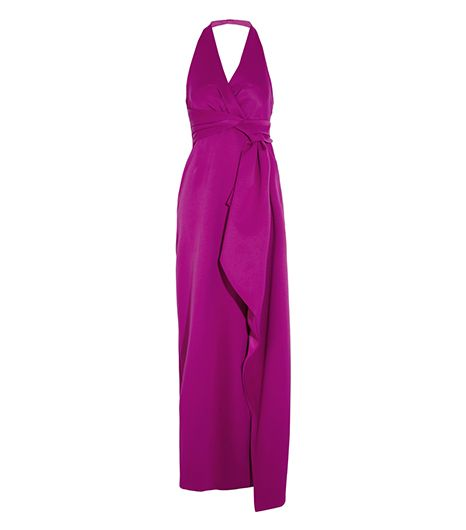 Halston Heritage Draped Double-Faced Satin Gown ($595)   Why not channel your inner disco queen and show up to your next party in this bright little number?