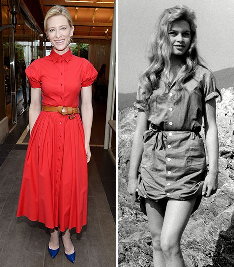 On Cate Blanchett: Michael Kors dress When we think of the shirtdress, our minds wander to Brigitte Bardot in the 1956 film And God Created Woman wearing a sultry shirtdress cinched at the...