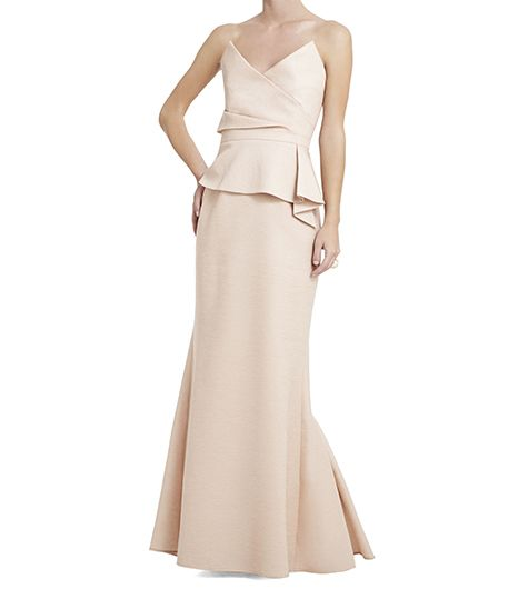 BCBGMAXAZRIA Gracie Strapless Peplum Gown ($598)   We can't get over the amazing origami detailing on this peplum gown, and why should we?