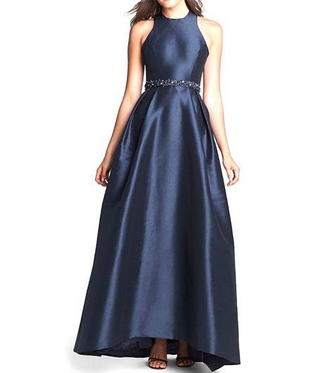 """ML Monique Lhuillier Cross Strap Faille Ballgown ($598)   Generally, we avoid any type of """"princess"""" analogy, but seriously, this dress screams royalty."""