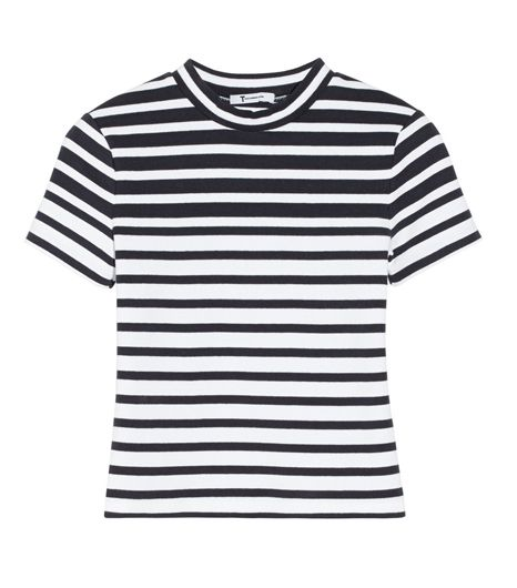 T by Alexander Wang  Cropped Striped Stretch Cotton Top