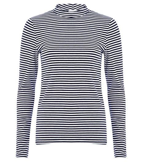 River Island  Navy Stripe Turtle Neck Top