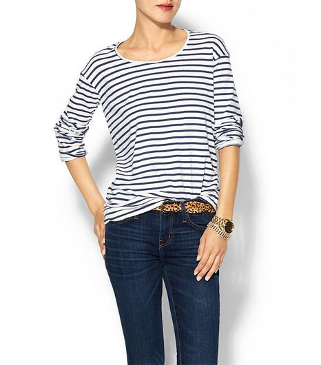Monrow Striped Jersey Big Sweater Shirt