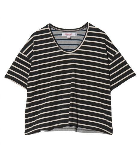 Organic  Stripe Crop Tee Shirt