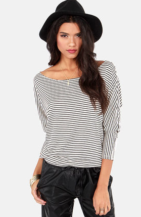 Dolman's Best Friend Ivory Striped Top