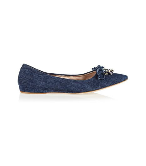 Miu Miu Crystal-Embellished Denim Point-Toe Flats