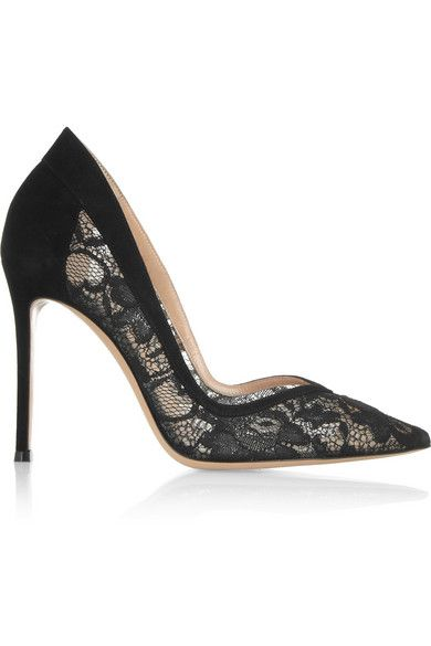 Gianvito Rossi  Lace And Suede Pumps