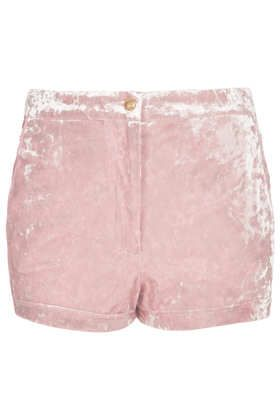 Topshop  Pink Crushed Velvet Shorts