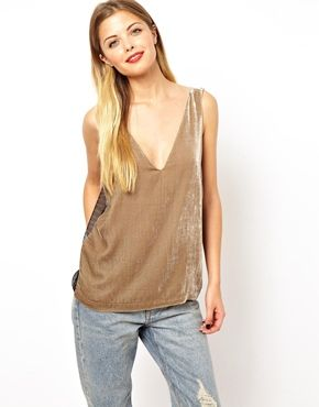 ASOS  Tank with Mesh Inserts in Silk Velvet