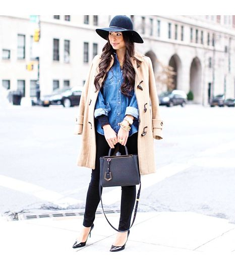 Kattanita is wearing: James Jeans denim, Burberry coat, Topshop hat, Jimmy Choo heels, Express shirt, Fendi bag.