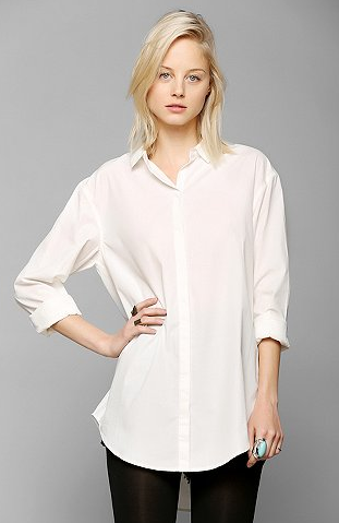 Silence and Noise Tucked & Shirred Button-Down Shirt