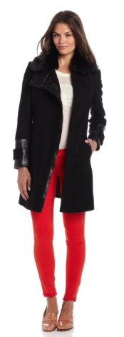 Via Spiga  Asymmetrical Zip Front Coat with Faux Fur Collar