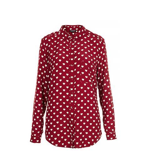 Topshop Heart Print Marocain Shirt