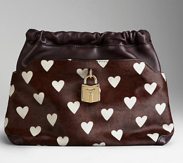 Burberry  The Little Crush in Heart Print Calfskin and Leather Clutch
